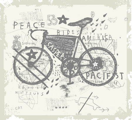 Symbolic image of sports bike graffiti Illustration