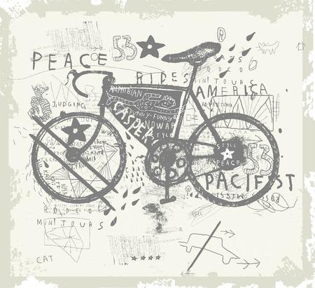 setter: Symbolic image of sports bike graffiti Illustration