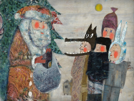 The image on which Santa Claus greeted the children and gave them gifts photo