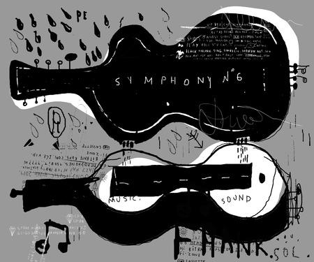 grafitis: Imagen simb�lica de la caja de un instrumento musical