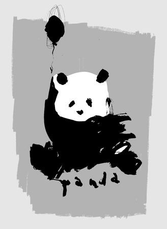 one panda: Symbolic image of a panda on a gray background