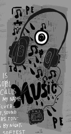 Symbolic image of music headphones on a gray background