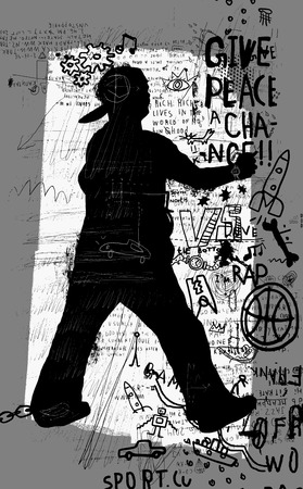 criminal activity: Symbolic image of a man who paints graffiti Illustration