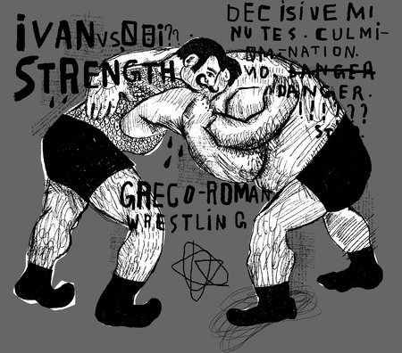 struggling: Symbolic image of people who are struggling in the ring