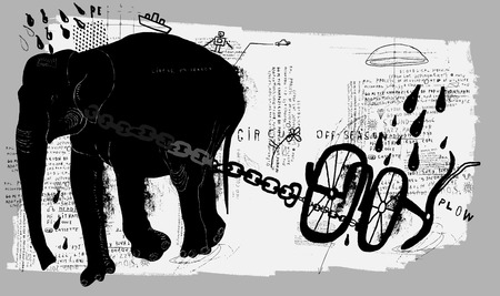plow: Symbolic image of an elephant, which pulls the plow