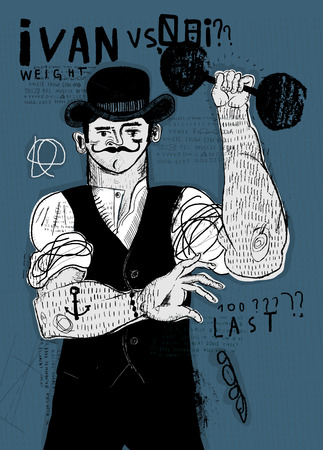 Image of a man who deals with heavy dumbbell