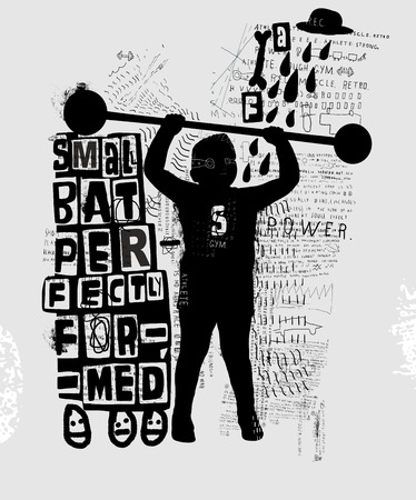 engaged: Picture of a little boy who is engaged in weightlifting Illustration