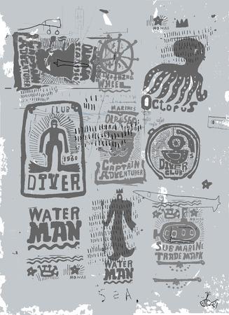 grafitis: Imagen de personajes marinos en un fondo azul Vectores