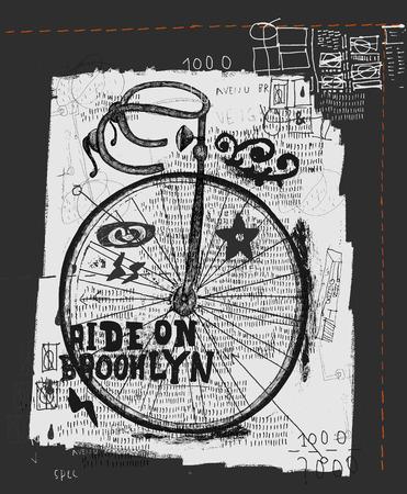spare part: Symbolic image of sports bike graffiti Illustration