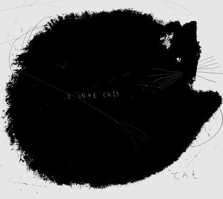 homelessness: Symbolic image of a black cat on a white background Illustration