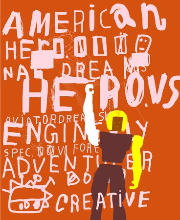 american hero: The symbolic image of an American hero in the style of graffiti