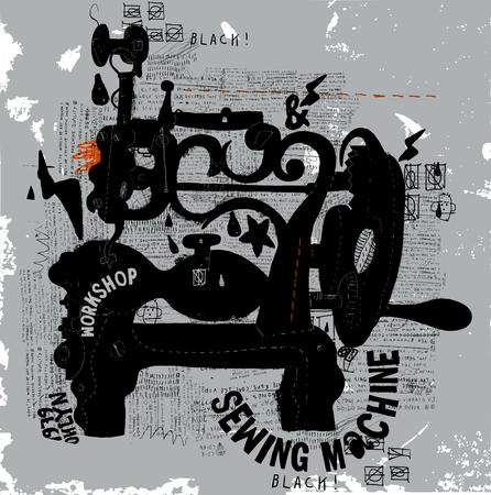 maquina de coser: La imagen simbólica de una vieja máquina de coser Vectores