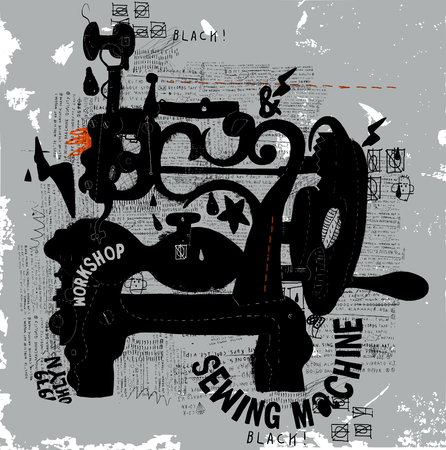 sewing label: The symbolic image of an old sewing machine