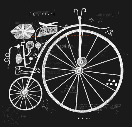 button art: Image of an old bicycle with a large wheel