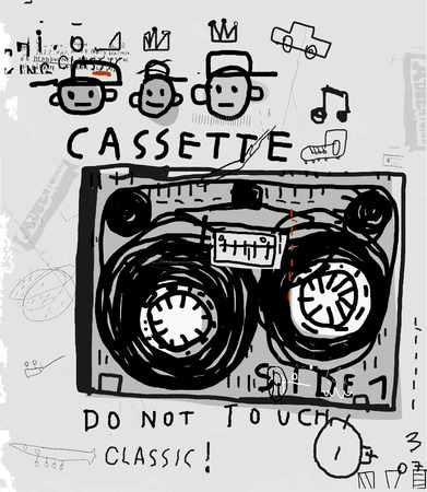 The symbolic image of an old audio cassette