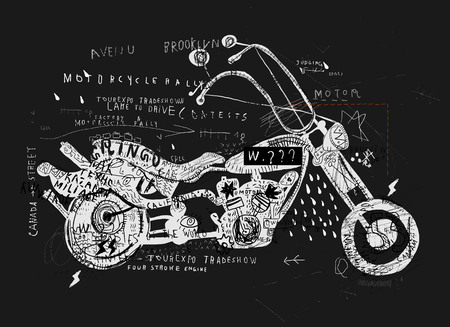 curious: Image of motorcycle, which is made in the style of graffiti Illustration
