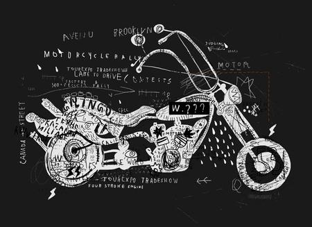 grafitis: Imagen de la motocicleta, que se hace en el estilo del graffiti