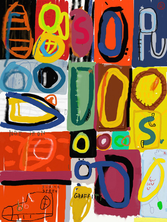 マルチを含む落書きのイメージ色の数字 写真素材