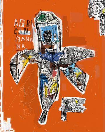 arte moderno: Imagen simb�lica de un pl�tano, que consiste en una pluralidad de s�mbolos Foto de archivo
