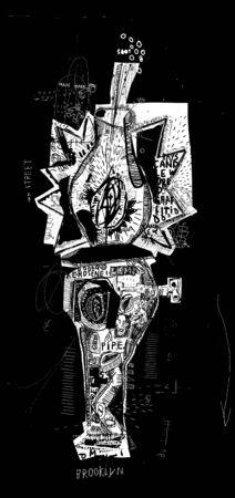 kerosene: Symbolic image of a kerosene lamp, which comprises a plurality of symbols Illustration