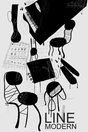 De symbolische afbeelding van de meubels, die in de kamer
