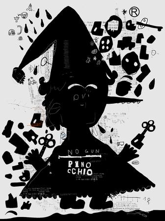 collodi: The symbolic image of Pinocchio on a gray background Illustration
