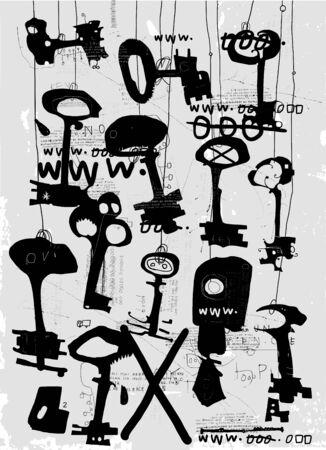 amount: The symbolic image of keys in a large amount
