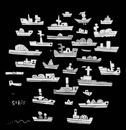 The symbolic image of the ships on a black background