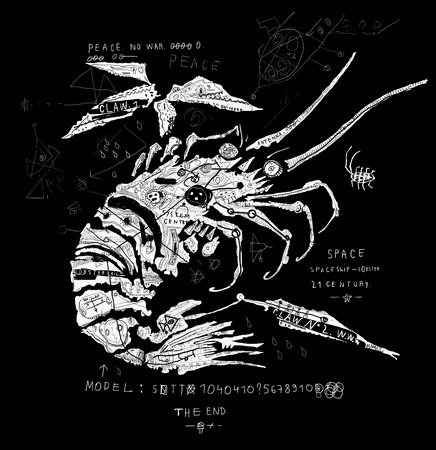 lobster isolated: The symbolic image of the lobster, which is a spaceship