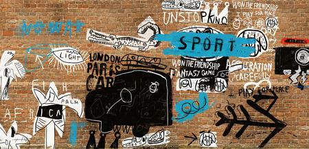 La imagen simbólica de los personajes, que se publican en la pared Foto de archivo