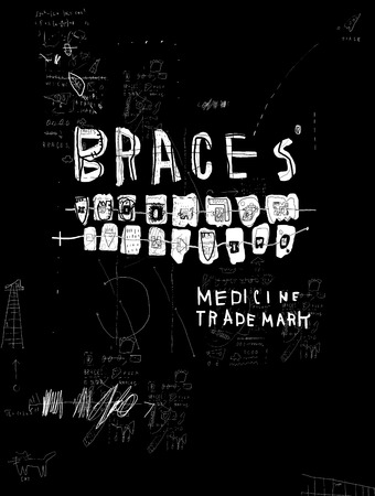 The symbolic image of braces that are placed on the teeth to correct