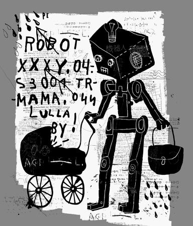 terminator: Symbolic image of a robot with a pram Illustration