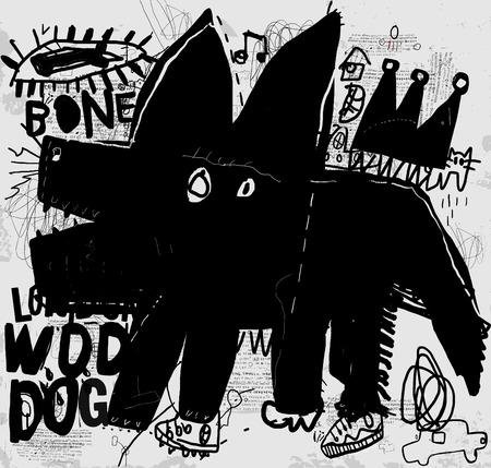 Graffiti: The symbolic image of a dog that barks Illustration