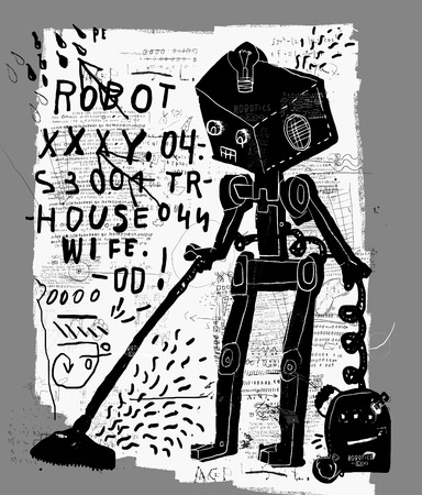 terminator: The symbolic image of a robot that vacuums the floor Illustration