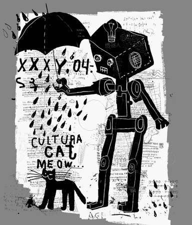 terminator: The symbolic image of a robot with an umbrella and a cat Illustration