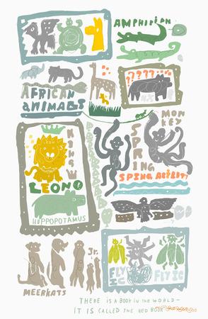 dessin enfants: L'image symbolique des animaux dans le style des enfants Illustration