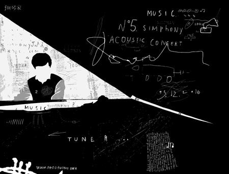 La imagen simbólica de la persona que toca el piano