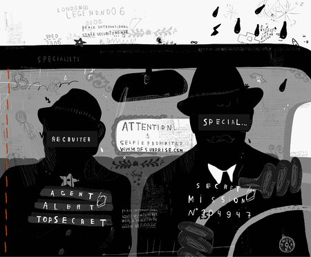 pursuit: The image of men who are in the car Illustration