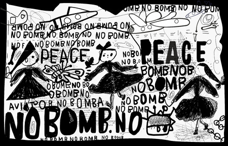 child: A poster that contains a protest against the bombing