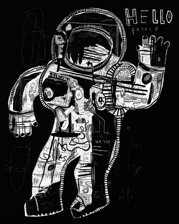 night suit: The symbolic image of an astronaut who sends his greetings to all