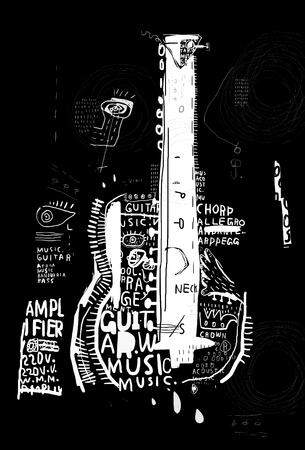 symbolic: The symbolic image of an acoustic guitar on a black background