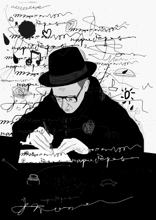 Symbolic image of a man who writes a letter with pen and ink