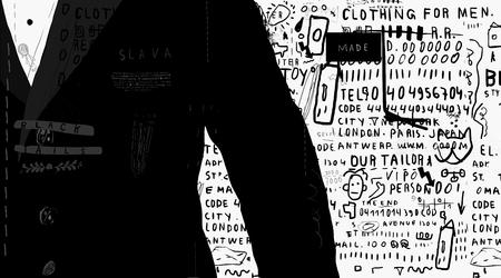 La imagen simbólica de un hombre en la chaqueta negro