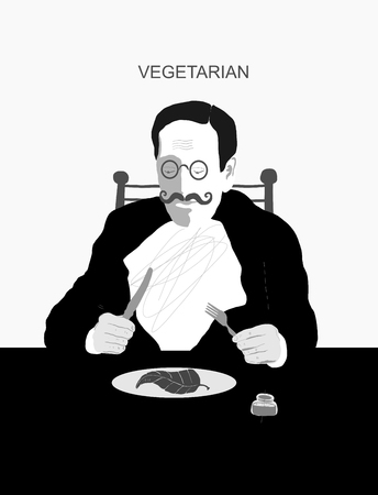 eats: The symbolic image of a man who eats only plant foods