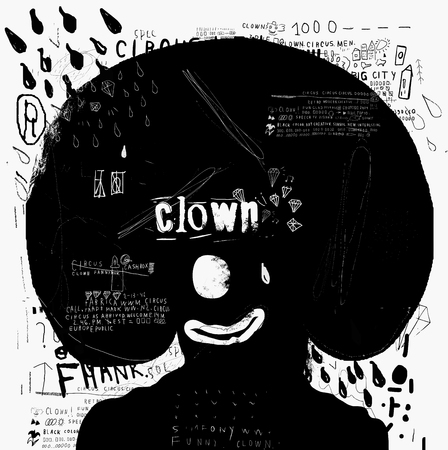 laughs: Symbolic image of the clown who laughs and cries