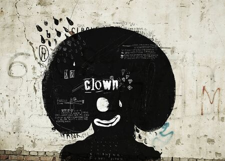 black wigs: Symbolic image of the clown who laughs and cries