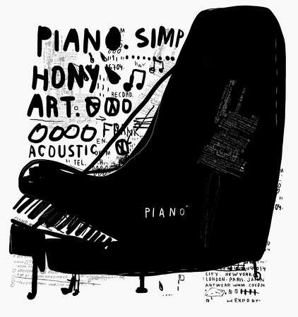 The symbolic image of a piano on white background