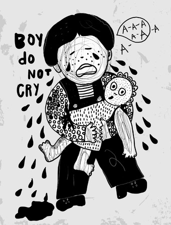 resentment: The symbolic image of a crying boy with a doll