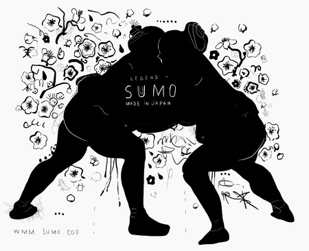 The symbolic image of people who spend fighting in sumo style