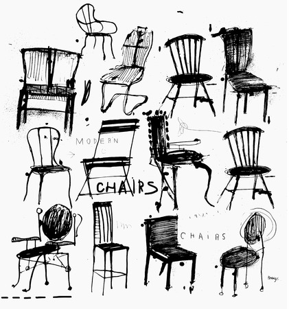 Symbolic image of chairs are made in the style of quick sketches